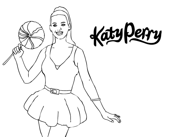 Katy Perry With Lollipop Coloring Page Coloringcrew Com Katy Perry Coloring Pages
