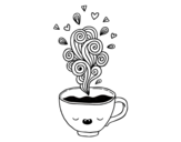 Kawaii cup of coffee coloring page