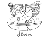 Kiss on a boat coloring page