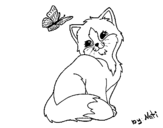 Kitten and Butterfly coloring page