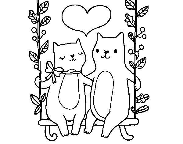Kittens in love coloring page