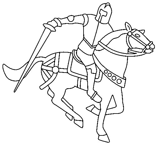 Knight on horseback IV coloring page