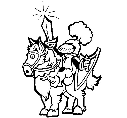 Knight raising his sword coloring page
