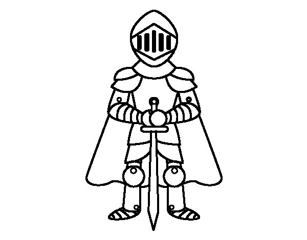 Knight with cape coloring page