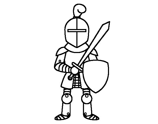 Knight with sword and shield coloring page