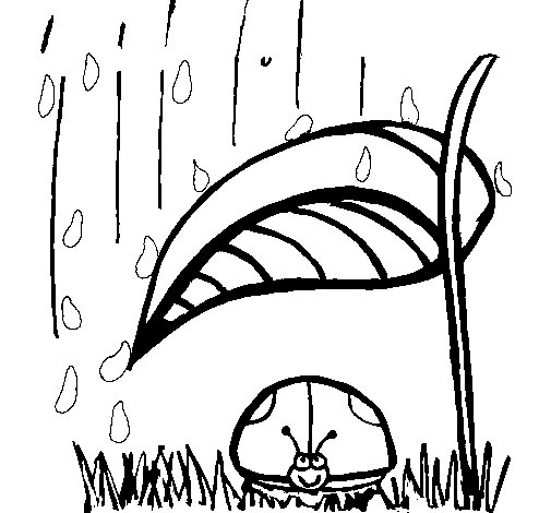 Ladybird sheltering from rain coloring page