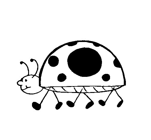 Ladybird walking coloring page