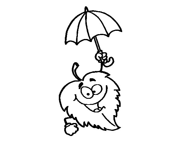 Leaf with umbrella coloring page