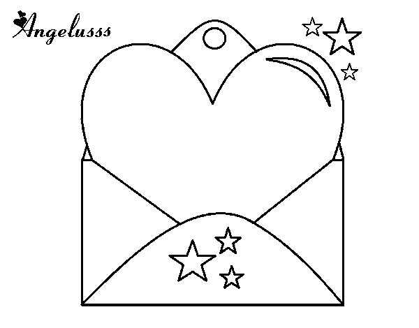 Letter with heart coloring page