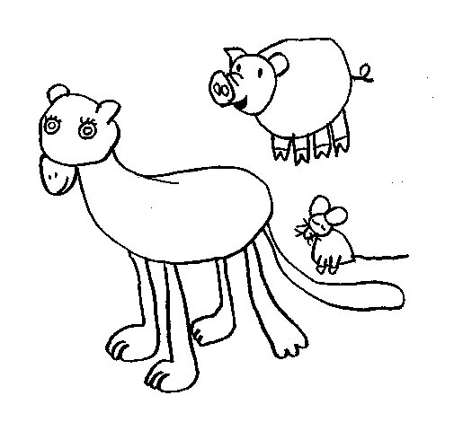 Lioness, pig and mouse coloring page