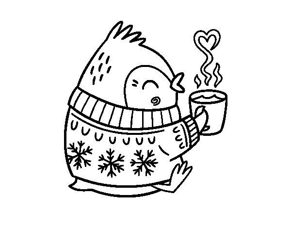 Little bird having a tea coloring page