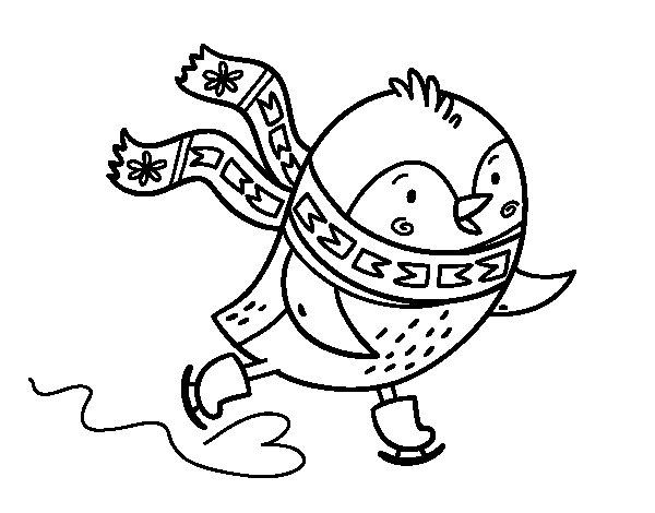 Little bird skating coloring page