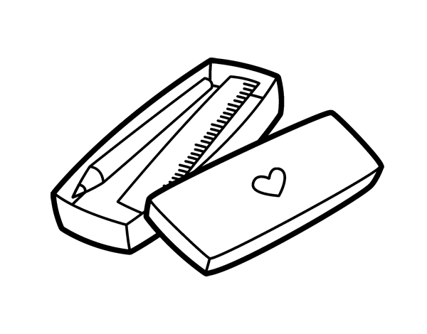 Little Box With Pencil And Ruler Coloring Page