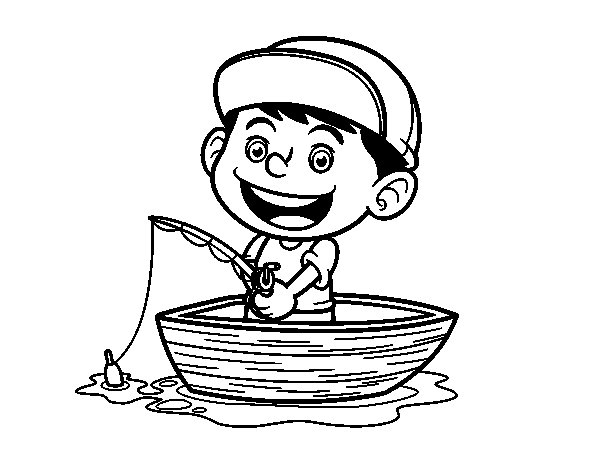 Little boy fishing coloring page