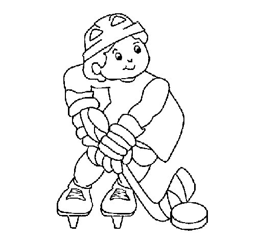 Little boy playing hockey coloring page