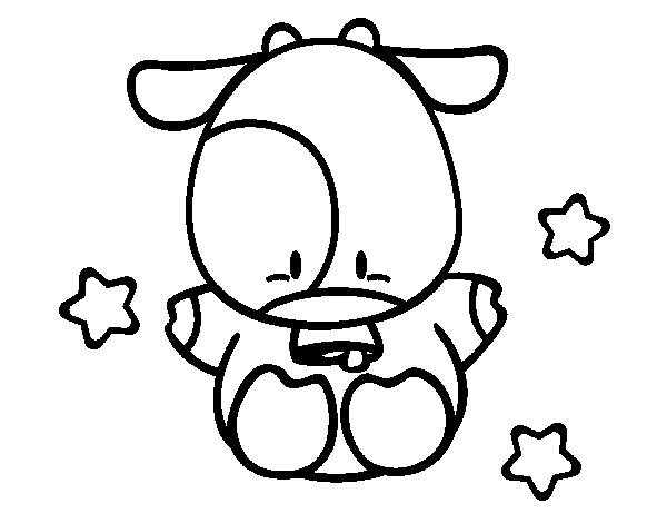 Little cow coloring page