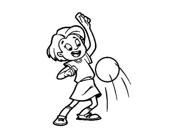 Little girl dribbling ball coloring page