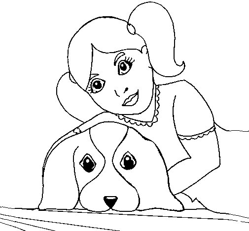 Little Girl Hugging Her Dog Coloring Page