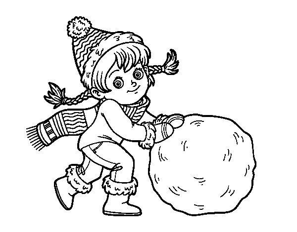 Little girl with big snowball coloring page