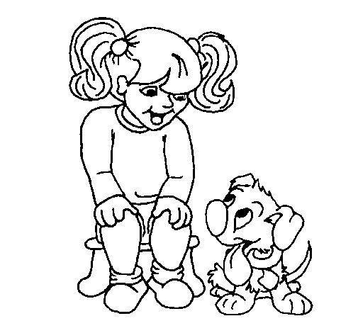 Little girl with her puppy coloring page