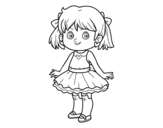 Little girl with modern dress coloring page