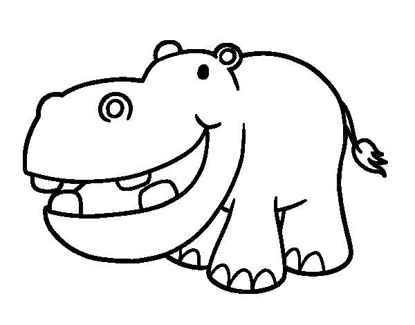 Little hippopotamus coloring page