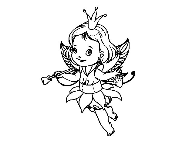 Little magic fairy coloring page