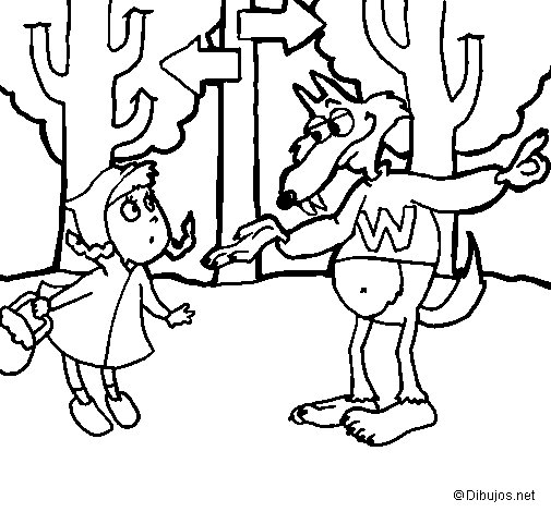 Little red riding hood 5 coloring page
