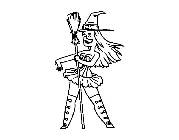 Little witch sexy coloring page