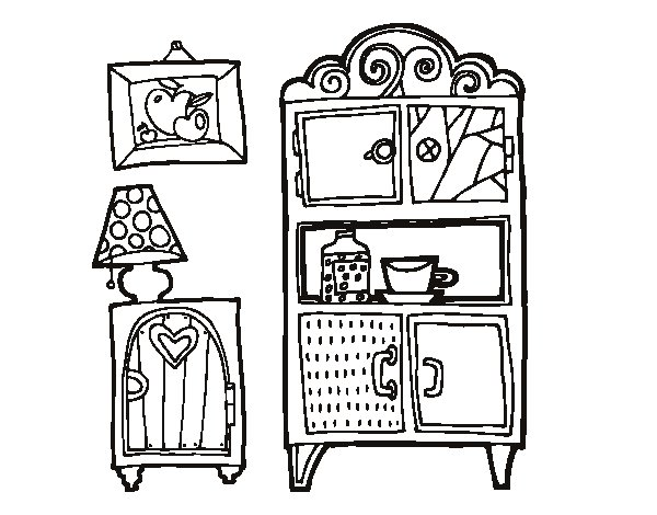 Living room furniture coloring page for Comedor para colorear