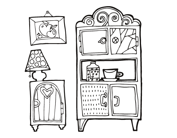 living room furniture coloring page