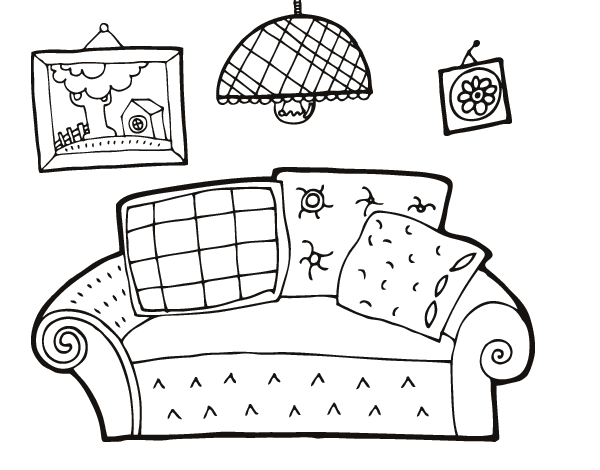 coloring pages simple living room - photo#23