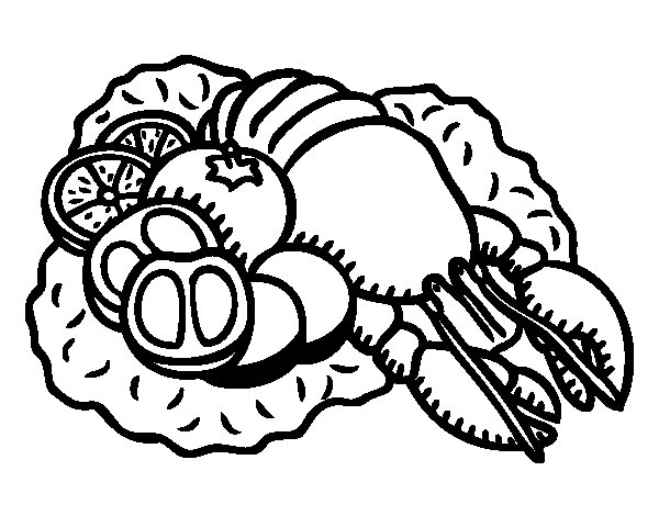 Lobster with vegetables coloring page