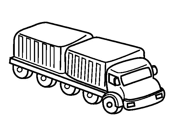 Long truck coloring page