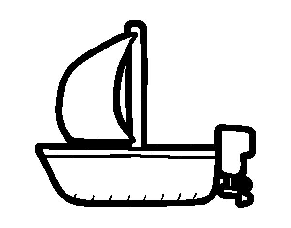 Longboat with sail coloring page