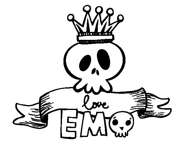Love Emo coloring page