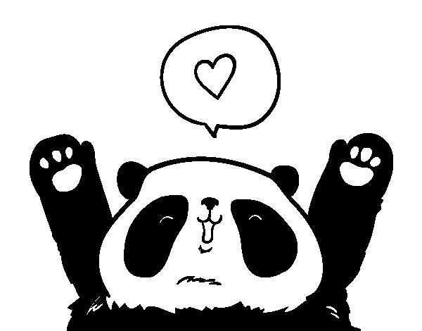 Love Panda coloring page