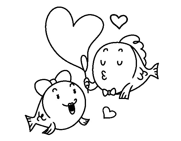 Lover fish coloring page