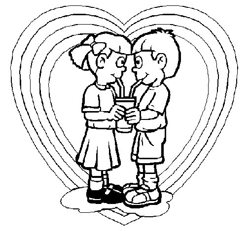 Lovers sharing a drink coloring page