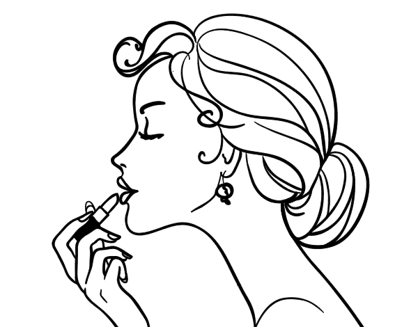 Make up the lips coloring page - Coloringcrew.com