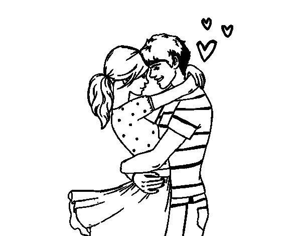 Man and woman in love coloring page