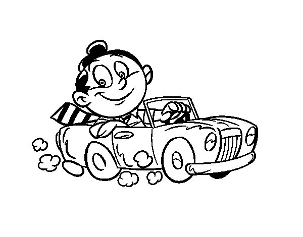 Man in convertible coloring page