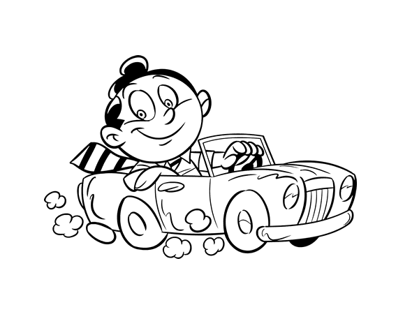 Juegos Para Colorear De Leo El Pequeno Camion: Man In Convertible Coloring Page