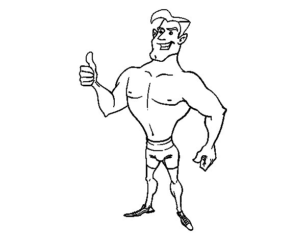 Man in swimsuit coloring page