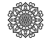Mandala arabic hearts coloring page