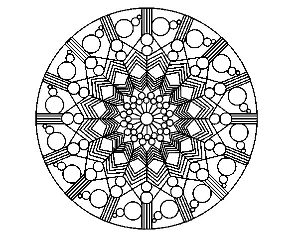 Mandala Flower With Circles Coloring Page