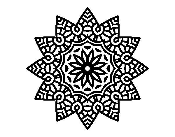 Mandala flowery star coloring page