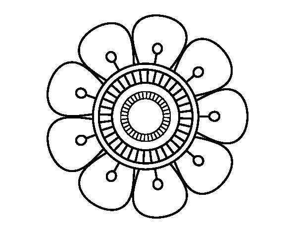Mandala in flower shape coloring page