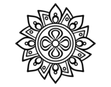 Mandala simple flower coloring page