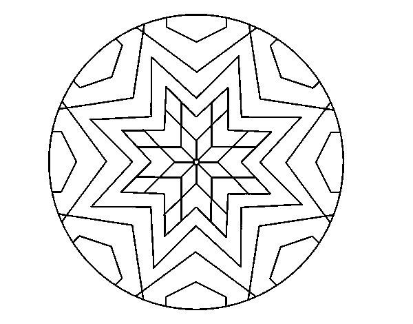 mandala star mosaic coloring page